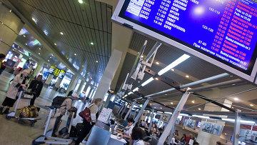 Пассажиры у стойки регистрации билетов в аэропорту Домодедово. Архивное фото