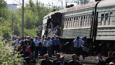На месте столкновения поездов в Московской области. 20 мая 2014