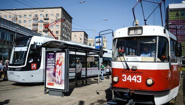 Первый рейс трамвая нового поколения в Москве. Архивное фото