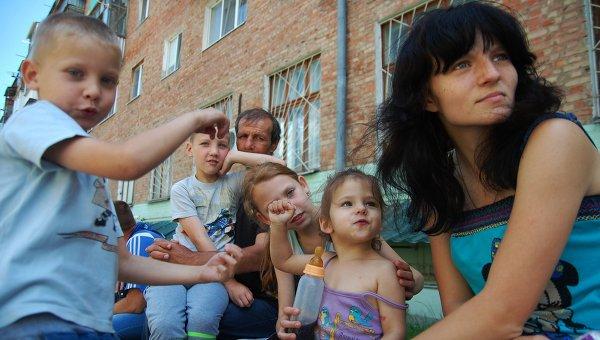 Украинские беженцы. Архивное фото.