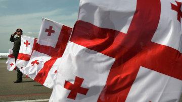 Грузинские флаги, архивное фото