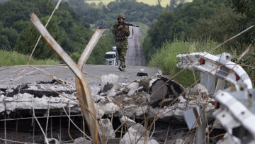 Солдат украинской армии возле Донецка