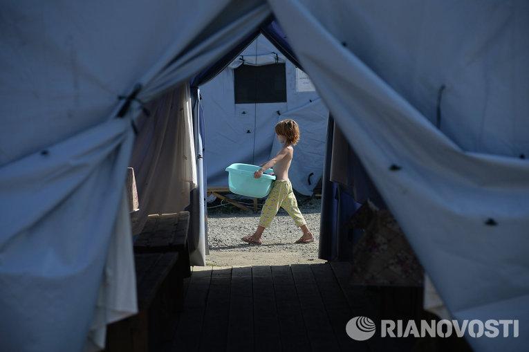 Лагерь украинских беженцев в населенном пункте Гуково Ростовской области