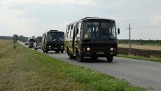 Автоколонна с украинскими военными по пути из Ростовской области на Украину