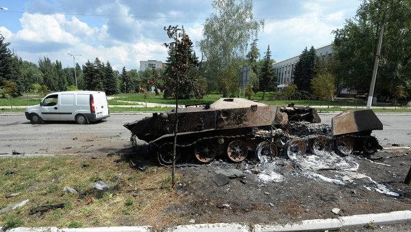 Разрушения в Шахтерске Донецкой области. Архивное фото