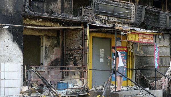 Многоэтажные жилые дома, разрушенные в результате обстрелов украинской армией Шахтерска.