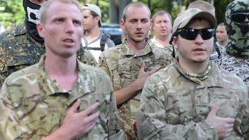 Бойцы батальона национальной гвардии Шахтерск. Архивное фото