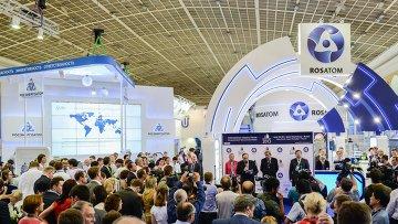 Стенд Госкорпорации Росатом на открытии Международного промышленного форума Атомэкспо-2013. Архивное фото
