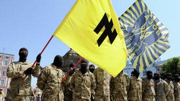 """Бойцы батальона """"Азов"""" принимают присягу в Киеве. Архивное фото"""