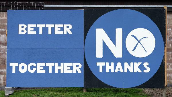 Плакаты сторонников единства Шотландии. Архивное фото