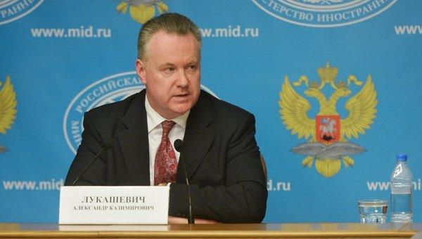 Официальный представитель министерства иностранных дел Российской Федерации Александр Лукашевич во время брифинга в Москве.Архивное фото