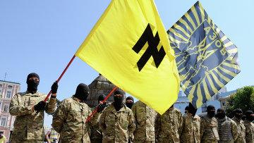 """Бойцы батальона """"Азов"""" приняли присягу в Киеве перед отправкой на Донбасс. Архивное фото"""