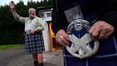 Сторонник независимости Шотландии во время референдума