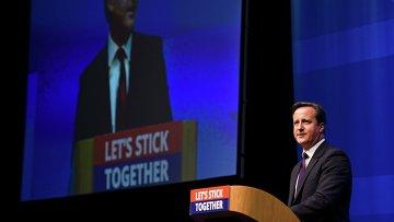 Премьер-министр Великобритании Дэвид Кэмерон выступает с речью в Шотландии
