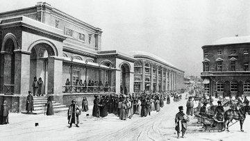 Литография Новая биржа и Гостиный двор на Ильинке