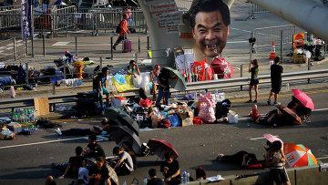 Протестующие на улице Гонконга. Архивное фото.