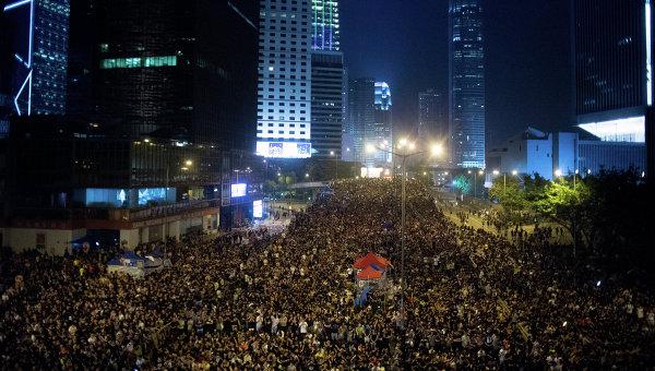 Сторонники протестного движения Occupy Central на митинге в районе Admiralty в Гонконге. Архивное фото