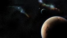 Вид на Марс и Землю, открытый космос. Архивное фото