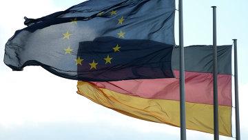 Флаги Евросоюза и Германии в Берлине. Архив
