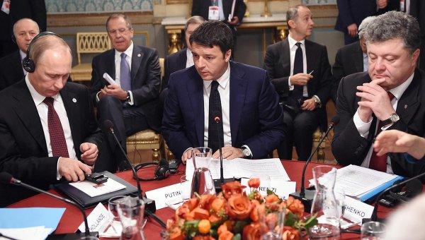 Владимир Путин, Маттео Ренци и Петр Порошенко во время рабочего завтрака в Милане 17 октября 2014