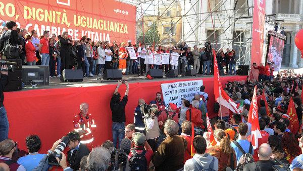 Манифестация, организованная Всеобщей итальянской конфедерацией труда