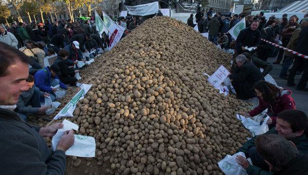 Акция протеста французских фермеров на площади Республики в Париже