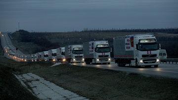 Подготовка гуманитарной колонны к выезду в Ростове-на-Дону. Архивное фото