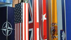 Логотип и флаги стран-участниц НАТО. Архив