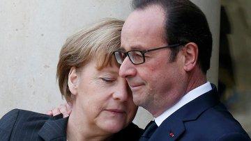 Франсуа Олланд (справа) и Ангела Меркель