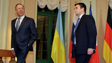 Глава российского МИД Сергей Лавров на переговорах с коллегами из Германии, Украины и Франции