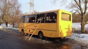 Обстрел автобуса в Волновахе, Украина. Архивное фото