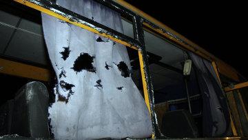 Автобус, обстрелянный в Волновахе, 13 января 2015