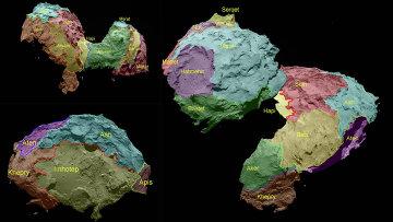 Карта поверхности кометы Чурюмова-Герасименко, полученная камерой OSIRIS