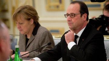 Канцлер ФРГ Ангела Меркель и Президент Франции Франсуа Олланд во время переговоров в Киеве 5 февраля 2015
