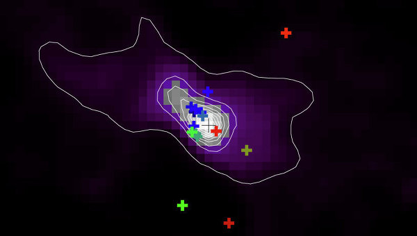Фотография умирающей звезды IRAS 15103-5754, полученная в инфракрасном и радиодиапазонах