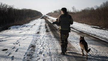 Ополченец Донецкой народной республики в окрестностях Дебальцево Донецкой области. Архивное фото