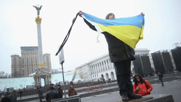 Участник акции, посвященной годовщине событий на площади Независимости в Киеве. Архивное фото.