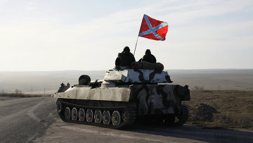 Отвод колонны тяжелой военной техники ДНР из Донецкой области. Архивное фото