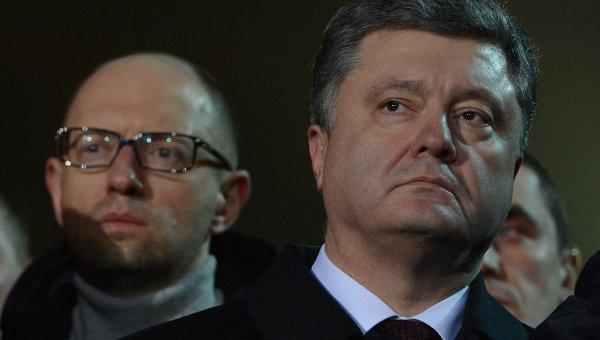 Президент Украины Петр Порошенко и премьер-министр Украины Арсений Яценюк. Архивное фото