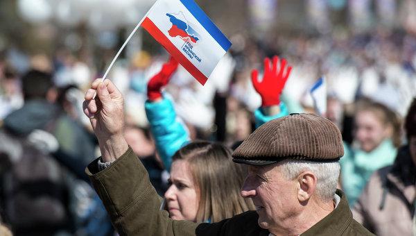 Празднование годовщины Крымской весны в Симферополе. Архивное фото