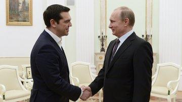Президент России Владимир Путин и премьер-министр Греции Алексис Ципрас во время встречи в Кремле. Архив