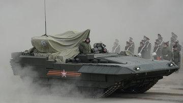 БМП Армата на полигоне в Алабино во время тренировки к Параду Победы. Архивное фото.