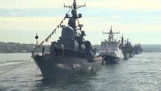 Строй кораблей и марш солдат: репетиция парада Победы в Севастополе