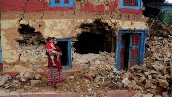 Последствия землетрясения на окраине Лалитпура, Непал. Архивное фото