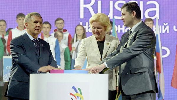 Рустам Минниханов, Ольга Голодец и Роберт Уразов на церемонии открытия чемпионата WorldSkills в Казани. Архивное