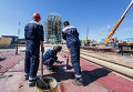 """Монтажные работы на стартовом столе космодрома """"Восточный"""" в Амурской области"""