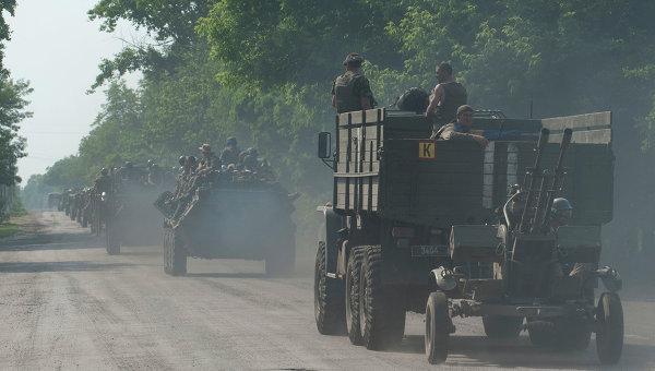 Колонна с украинскими военными под Марьинкой. Архивное фото