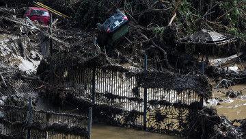 Автомобили на затопленной площади зоопарка в Тбилиси. Архивное фото