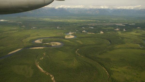 Вид из самолета на реку Чара, Забайкальский край