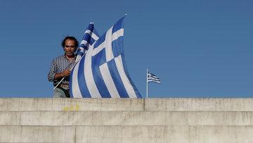 Продавец флагов Греции. Архивное фото
